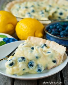 Lemon Blueberry Cream Pie - A Family Feast. I wonder if I could trade the sour cream for Greek yogurt?