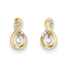 Kids Small Cubic Zirconia Figure 8 Post Earrings in Yellow Gold, Girl's, Size: 6 MM Infinity Earrings, Infinity Jewelry, Gold Rings Jewelry, Diamond Jewelry, Jewellery, Jewelry Shop, Jewelry Design, Designer Jewelry, Infinity Symbol