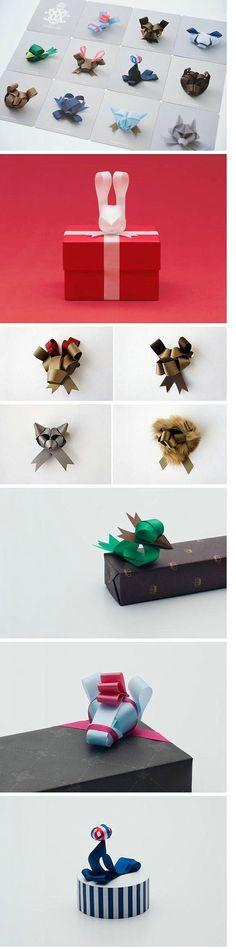 Amazing origami animal bows for presents! Holiday Crafts, Fun Crafts, Diy And Crafts, Paper Crafts, Craft Gifts, Diy Gifts, Bows For Presents, Wrapping Presents, Christmas Presents