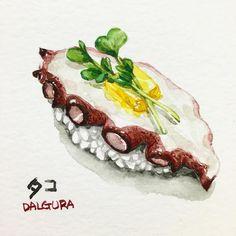 """183 Likes, 6 Comments - watercolor food painting/맛있는그림 (@dalgura) on Instagram: """"문어초밥.. 냉동문어초밥은 별루지만 생문어초밥은 좋지요~ たこ寿司! 冷凍は好きじゃないけど生たこのたれはいい!!…"""""""
