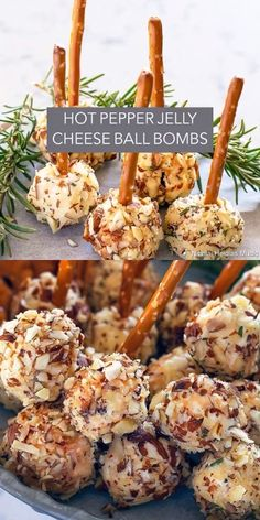 Hot Pepper Jelly Cheese Ball Bombs are spicy mini cheese balls with pretzel stick handles stuffed with hot pepper jelly! Hot Pepper Jelly Cheese Ball Bombs are spicy mini cheese balls with pretzel stick handles stuffed with hot pepper jelly! Appetizers For Party, Appetizer Recipes, Tapas Party, Easy Christmas Appetizers, Seafood Appetizers, Batata Duchesse, Hot Pepper Jelly, Cheese Ball Recipes, Mini Cheese Ball Recipe