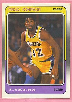 Magic Johnson Lakers customized sports trading cards, kids sports trading cards