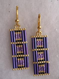 Free Shipping Beadwoven Rectangle Earrings Purple by pattimacs
