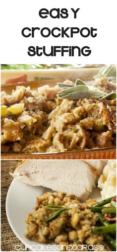 EASY CROCKPOT STUFFING is delicious and moist.  The best part is you're having fun with family and the crockpots doing the work!