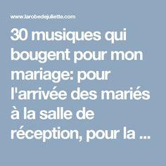 30 musiques qui bougent pour mon mariage: pour l'arrivée des mariés à la salle de réception, pour la première danse, pour l'entrée et la sortie de cérémonie civile, laïque ou religieuse ou encore pour le lancer du bouquet! Des chansons d'amour qui donneront envie à vos invités de danser!!