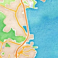 Type in a location and a watercolor map will be generated that you can purchase-.stamen.com / watercolor