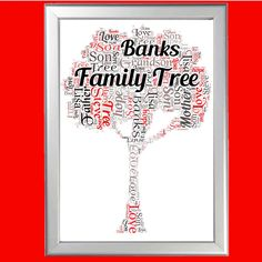 Personalised Family Tree Word Art Christmas Xmas Present Gift For Mum Dad Sister