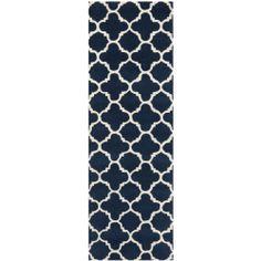 "Handmade Moroccan Dark Blue Wool Runner Rug (2'3"" x 7') | Overstock.com Shopping - The Best Deals on Runner Rugs"