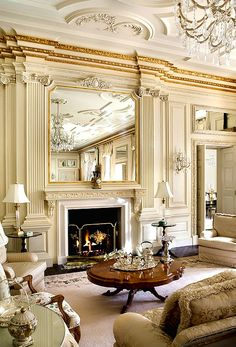 Chandelier + walls + furniture + fireplace