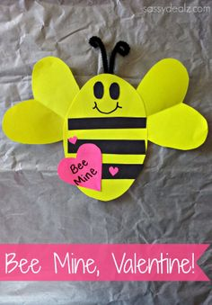 """Bee Mine"" Valentine's Day Craft For Kids #Valentine card #DIY #Creative valentine art project 