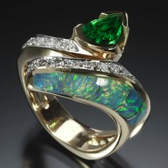 Tsavorite, Diamonds and Opal ring - Randy Polk