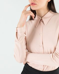 F-L-O-W-I-N-G A jersey fabric, fluid. Pink powder. Shirt available on www.lazzarionline.net and in our stores. #MadeinItaly #pink #LazzariGirl #shirt