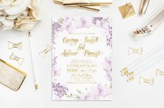 Orchid and Lilac Wedding Invitation Watercolor Violet Flowers Gold Foil Digital Personalised Bachelorette Party Baby Shower Gender 5x7inches