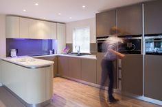 Two-tone Matt Slab Handleless Kitchen Handleless Kitchen, Devon, Corner Desk, Modern, Furniture, Home Decor, Corner Table, Trendy Tree, Decoration Home