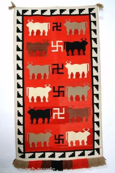 RARE Vintage Navajo Pictorial Tapestry Rug with Bulls Rolling Logs | eBay