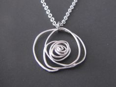 SALE 10 OFF  Wire rose necklace in white by Thedandelionjewelry, $17.00