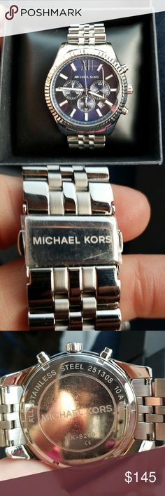 Michael Kors Lexington Chronograph Watch MK 8280, 45mm stainless steel, 10 ATM, approx 13mm thick.   I think this watch is new and unused. There is still the plastic covering to the back latch. Battery is working and it is keeping time. It comes with a plain black watch box. Michael Kors Accessories Watches
