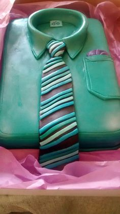 60th birthday shirt and tie cake. Made by Mary Alleyne. Barbados.