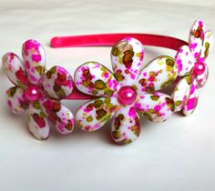 Girl's Headband with Pink and Green Flower Beads. $12.00, via Etsy.
