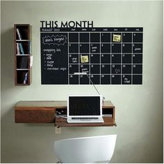 Hey, I found this really awesome Etsy listing at https://www.etsy.com/listing/184590275/monthly-chalkboard-calendar-vinyl-wall