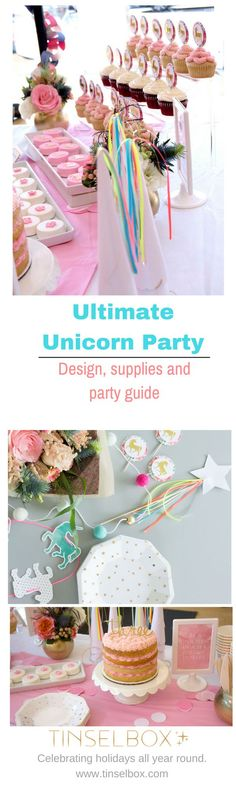 It makes sense that a mythical, beautiful and magical creature is a favorite birthday party theme. This Unicorn Party Design & Supplies guide is perfect for all ages. Unicorn Birthday Parties, Unicorn Party, Birthday Party Themes, Birthday Ideas, Theme Parties, Diy Party, Party Ideas, Unicorn Crafts, Party Entertainment