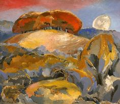 Landscape of the Moon's Last Phase - Your Paintings - Paul Nash paintings. These paintings remind me of our acrylic painting exercises at college -all jumbles of shapes, layered and layered up using a limited palette. Abstract Landscape, Landscape Paintings, Liverpool Museum, John Nash, Walker Art, English Artists, British Artists, Art Uk, Your Paintings