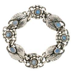 Georg Jensen Sterling & Cabochon Moonstone Bracelet; c. 1933-1944