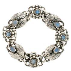 A Brandt and Son - Georg Jensen Sterling & Cabochon Moonstone Bracelet