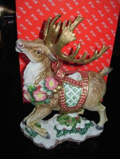 Fitz-and-Floyd-Christmas-Santas-Flight-Reindeer-Presents-Pair-Salt ...