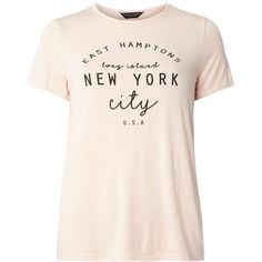 Dorothy Perkins BLush New York tee (630 UYU) ❤ liked on Polyvore featuring tops, t-shirts, shirts, blusas, camisetas, white, white short sleeve shirt, rayon t shirts, slogan t shirts and jersey shirt