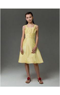 A-line Straps Knee-length Taffeta Junior Bridesmaid Dress