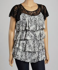 Another great find on #zulily! Gray & Black Tier Ruffle Lace Top - Plus #zulilyfinds