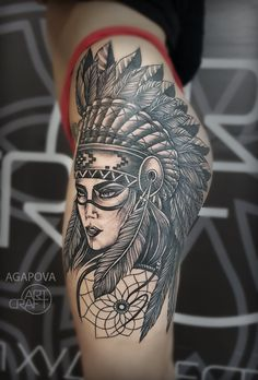 half sleeve tattoos with meaning Girl Thigh Tattoos, Girl Face Tattoo, Sexy Tattoos, Body Art Tattoos, Side Body Tattoos, Indian Women Tattoo, Indian Head Tattoo, Indian Headdress Tattoo, Side Tattoos Women