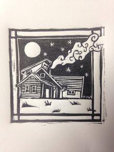 Little House Linocut Print by Cassandra Read @caseyreadartist