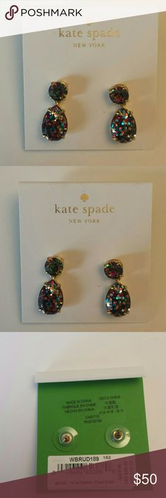 Kate Spade NWT Multicolored Dangle Earrings Kate Spade NWT Multicolored Sparkly  Dangle Earrings, post backing, gold tone trim Kate Spade Jewelry Earrings