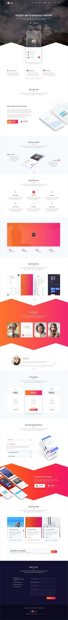 Pixels is clean and modern #design PSD template for #creative app #landing page website with 10 homepage layouts and 17 layered PSD pages download now..