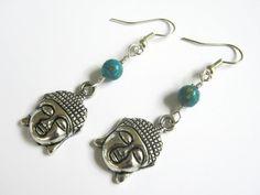 Turquoise Buddha Earrings Buddhist Earrings by Abundantearthworks, $12.85