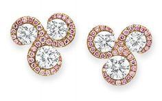 A pair of diamond and colored diamond ear clips. Photo Christie's Image Ltd 2013 Each set with three circular-cut diamonds,. Pink Diamond Jewelry, Diamond Earing, Gold Jewelry, Types Of Earrings, Diamond Design, Gemstone Earrings, Stud Earrings, Colored Diamonds, Diamond Cuts