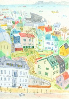 REYKJAVIK ROOFTOPS ICELAND - Signed Giclée Print from watercolour painting £50.00
