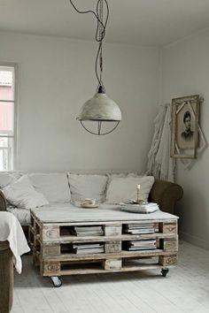 intérieur rustique, meubles en palettes, table basse avec palette