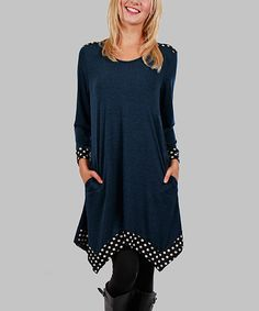Look what I found on #zulily! Midnight Blue Polka Dot Handkerchief Tunic - Plus #zulilyfinds
