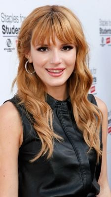 Disney Channel star Bella Thorne rocks her signature bangs and wavy locks to the Staples For Students School Supply Drive in Universal City, Calif.