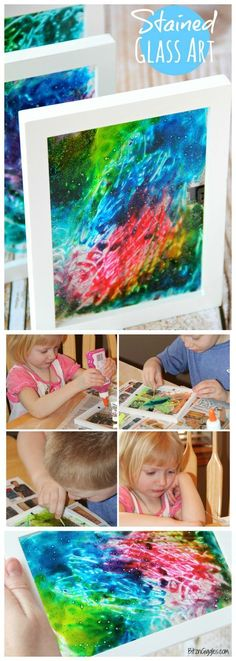 Art Stained Glass Art - A super simple project that uses glue and food coloring to produce breathtaking results!Stained Glass Art - A super simple project that uses glue and food coloring to produce breathtaking results! Crafts To Do, Easy Crafts, Boy Diy Crafts, Crafts For Boys, Bible Crafts, Cork Crafts, L'art Du Vitrail, Art Diy, Crafty Kids