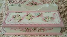 Hand Painted Desk Caddy Box Cottage Chic Pink Roses Hydrangeas Shabby Lace HP