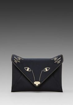 """Foxy"" Envelope W/Fox Face Embroidery in Black Clutch Diy Sac Pochette, Best Leather Wallet, Fox Face, Clutch Bag, Envelope Clutch, Revolve Clothing, Wallets For Women, Fashion Bags, Purses And Bags"