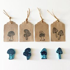 Stamp Carving, Handmade Stamps, Stamp Printing, Custom Stamps, Tampons, Linocut Prints, Fall Decor, Hand Carved, Stuffed Mushrooms