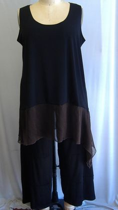 Coco and Juan Lagenlook Plus Size Black & Brown Asymmetric Tank Top Size 2 Fits 3X,4X Bust  to 60 inches. $30.00, via Etsy.