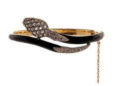 Napoleon III Period Enamel & Diamond Snake Bangle