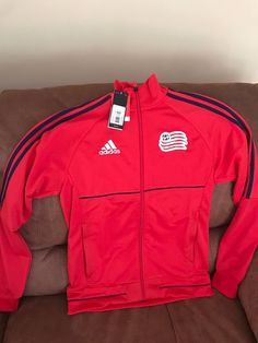 48c5f9aaa9b6 Adidas New England mls soccer Red Anthem Track jacket NWT size Small Men s