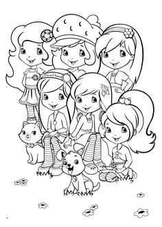 Team Strawberry shortcake coloring pages for kids printable free